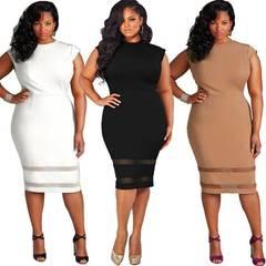 women dress, women's dress, comfortable and fashion, pure color mesh dresses xl black