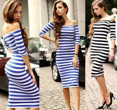 Woman  Dresses Slim Stripe Collar Strapless Package Hip Plus Size Sweet Dress l brown