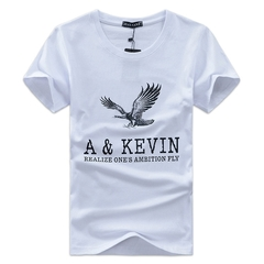 Men's Short Sleeve T-Shirt Wear Flying Eagle Pattern Trendy Comfortable Cotton white xxxl cotton