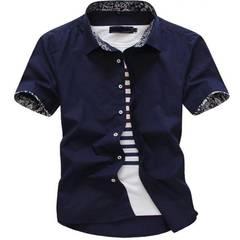 Short sleeve shirt Men summer Solid color Leisure Business Professional dress Men's shirts dark blue xl