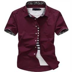 Short sleeve shirt Men summer Solid color Leisure Business Professional dress Men's shirts dark red xl