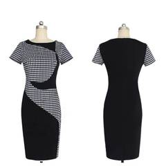 Hollow out Pencil Dress Womens Elegant Vintage Embroidery Casual Work  Dress xl black