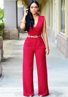 High waist V collar and broad leg pants irregular suit belt red m