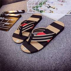 Men striped flip flops beach shoes  slippers shoes black 43