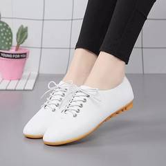 Women Shoes Genuine Leather Casual Flats Shoes white 36