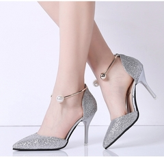 Women high slim heels pointed sequins banquet party wedding pearl  women shoes silvery 36