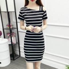 Summer Women's Striped Dress Short Sleeve Off Shoulder Slim Sexy Long Sleeve Skirt top black 2xl