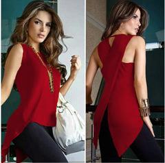 Women  Short Sleeve Blouse T-Shirt  Fashion Tops Casual dark  red xl