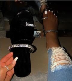 Fashionable ladies diamond flat sandals slippers women  shoes black 41
