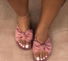 Women's sandals  butterfly-knotted flat-soled women's sandals  slippers shoes pink 38