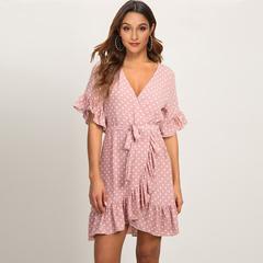Women Boho Style Beach Dresses Short Sleeve V-neck Polka Dot A-line Party Dress Sundress Vestidos s pink