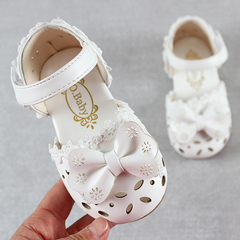 Kids Shoes  Leathers Sweet Children Sandals For Girls Toddler Baby Breathable Shoes white 28
