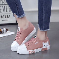 Women Shoes  Casual Shoes Women Flats Canvas Shoes  Lace Up Cartoon Ladies Shoes  Sneakers pink 40