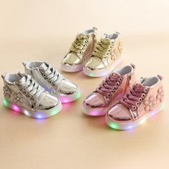 girls  light  kids flower rhinestone cartoon LED   girls slipper sandals shoes silvery 30