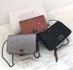 Women bag wrist lock sequins package fashion handbags silvery pu
