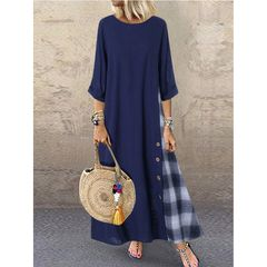 Dress Women Casual Patchwork Sleeves  Plus Size Maxi Dresses 4xl green