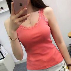 Ladies halter top sweater solid color halter top halter top vest women Tops Red M