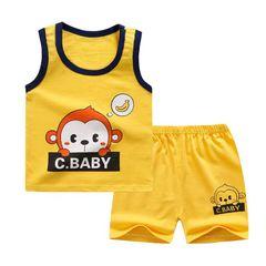 2Pcs Fashion Baby Boys Top+Pants Clothes Set Cotton Material Infant Clothing Set Suits Yellow 100cm