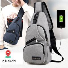 Men Chest Bag Pack Travel  Boy Messenger Shoulder Bags Sport Crossbody Handbag Gray as picture