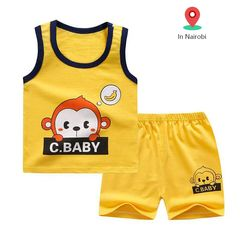 2Pcs Baby Boys Top+Pants Clothes Set Cotton children clothe Set Suits boy girl tshirt suit bargains Yellow 100cm