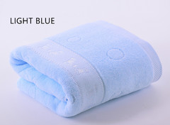COOL LIFE 100% Cotton High Quality Thickened Adult Baby Water Absorbing Soft Large Bath Towel 1 Pack light blue 70 * 140cm