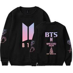 BTS K Pop Sweatshirt Capless  Bangtan boy outwear Hip-Hop Women and men Fashion Fans Hoodies black1 xxl