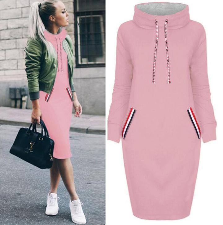 Women dress Sweatshirt Autumn Slim Long Sleeve Turtleneck Drawstring Harajuku Hoodies pink s