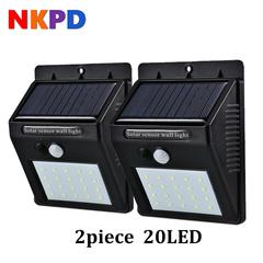 20 LED Solar Power PIR Motion Sensor Wall Light Waterproof Energy Saving Yard Path Home Security black( 2 piece) 124mm 0.55W