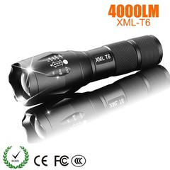 LED Rechargeable Flashlight Pocketman XML T6 linterna torch 4000 lumens Outdoor Camping Powerful black normal