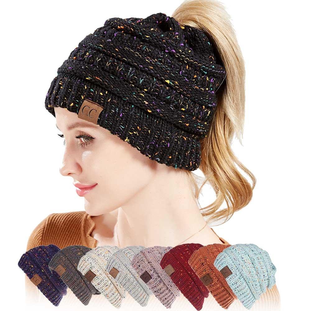 763db9495a44b8 2pcs Soft Knit Ponytail Beanie Warm Hats For Women Ladies Girls Cap ...