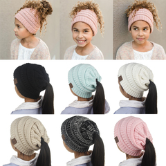 2pcs Winter Knitted Ponytail Beanie Kids Hat Child Ages 2-8 Cute bonnet Girls Caps Warm Solid Hats Black Normal
