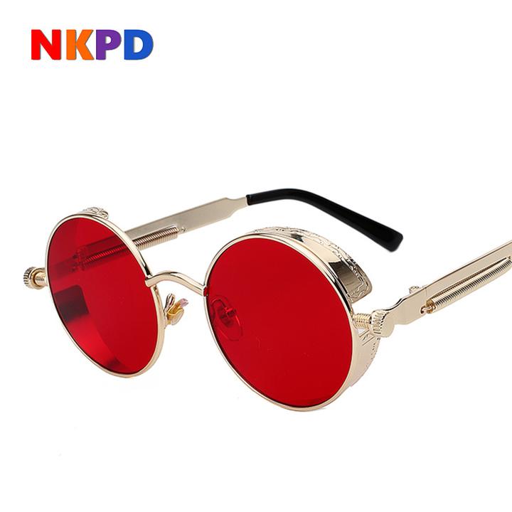 d1af707dd7 Round Metal Sunglasses Steampunk Men Women Fashion Glasses Retro Vintage  UV400 C1 normal
