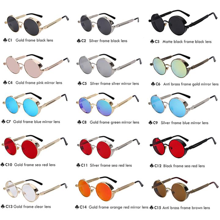 Round Metal Sunglasses Steampunk Men Women Fashion Glasses Retro Vintage UV400 C2 normal