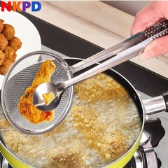 1 pc Multi-functional Filter Spoon Clip Food Kitchen Oil-Frying BBQ Stainless Steel Clamp Strainer same with picture normal