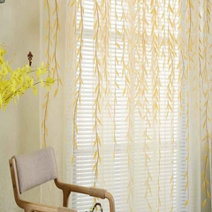 270*100cm Cute Willow Leaf Tulle Curtains Blinds Voile Pastoral Floral Window Bedroom Living Room yellow S(200*100cm)