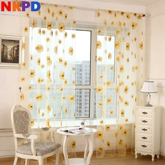 270*100cm Modern Sunflower Tulle Curtains Living Room Bedroom Curtain Yellow Floral Window Treatment yellow s(200*100cm)