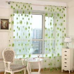 270*100cm Modern Sunflower Tulle Curtains Living Room Bedroom Curtain Yellow Floral Window Treatment green s(200*100cm)