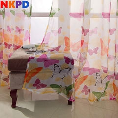 1 PC Butterfly Yarn Rustic Romantic Tulle Curtain Window Balcony Sheer Curtains Bedroom Door Deco colorful-same with picture s(200*100cm)