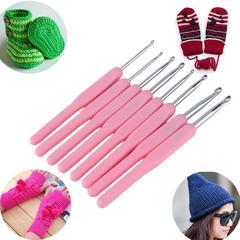 Knitting Needles Home Sewing Crochet Hooks Set Scarf Sweater Tool Aluminum Ergonomic Needle 8 Pcs pink 8pc/set