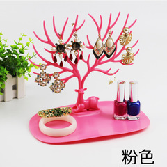 1pc Deer Earrings Necklace Ring Pendant Bracelet Jewelry Display Tree Storage Racks Organizer Holder hot pink
