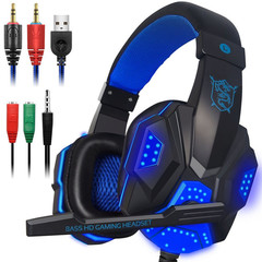 Stereo gaming headset, PS4 PC sound surround headset microphone, canceling noise, LED lights