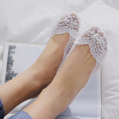 Pairs Cotton Lace Anti-skid Invisible No Show Ankle Socks Random Color random one size whtie one size