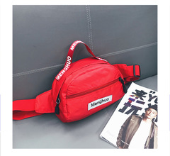 Candy Personality hiphop Male and female canvas satchel Tide sports chest bag pocket Single Shoulder red one size
