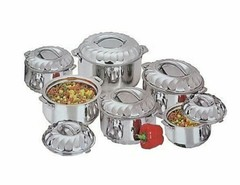 New Stainless Steel Food Server Hot Pot Set Casserole silver 6 pieces