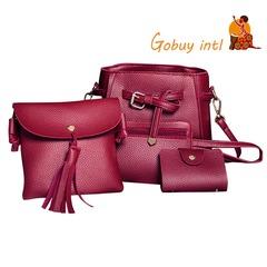 Gobuyintl Shoulder Bag Women Four Set Fashion Handbag Bags Tote Bag Crossbody Wallet Bolsas Feminina red as picture