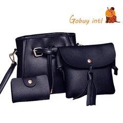Gobuyintl Shoulder Bag Women Four Set Fashion Handbag Bags Tote Bag Crossbody Wallet Bolsas Feminina black as picture