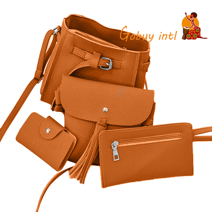 Gobuyintl Shoulder Bag Women Four Set Fashion Handbag Bags Tote Bag Crossbody Wallet Bolsas Feminina light brown as picture