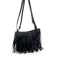 Bags Women's Punk Satchel Tassel Suede Fringe Shoulder Messenger Handbags Purses For Girls black one size