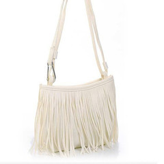 Bags Women's Punk Satchel Tassel Suede Fringe Shoulder Messenger Handbags Purses For Girls white one size