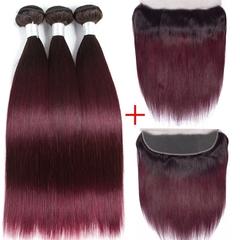 Bundles With Frontal Closure T1b 99j NonRemy  Straight  Hair Weave Bundles With Ear To Ear Frontal 1b/99J 12&14&16&closure10